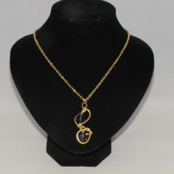 Gold Wire Blue Bead Necklace