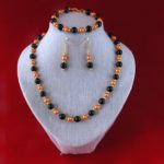 Black Burnt Orange Pearls Set