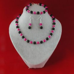 Black Shocking Pink Pearls Set