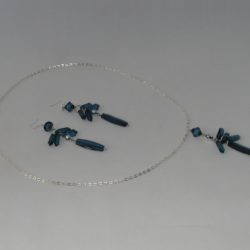Large Blue Dangle Necklace Ear Rings