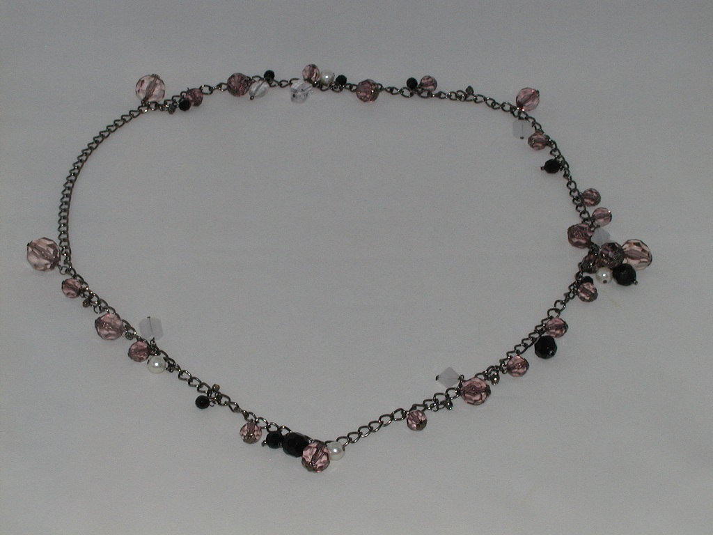 Long Black Chain Chunky Beaded Necklace