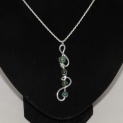 Silver Wire Green Bead Necklace