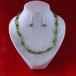 Green Seed Bead Tubes Three Strand Necklace Ear Rings
