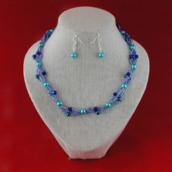Blue Seed Bead Pearls Four Strand Necklace Ear Rings