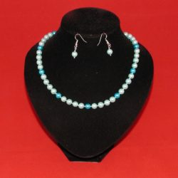 Blue Pearls Necklace Ear Rings