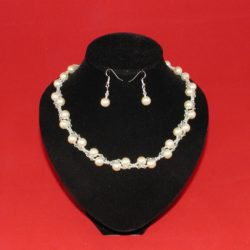 Cream Inter Linked Pearls Necklace Ear Rings