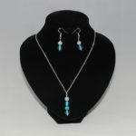 Silver Chain Blue Bead Dangle Necklace Ear Rings