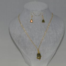 Gold Chain Green Lustre Bead Necklace