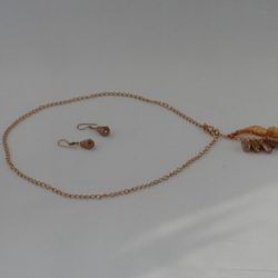 Large Leaf Dangle Necklace Ear Rings a