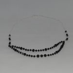 Black Beads Long Silver Chain Necklace
