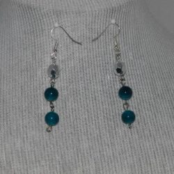Blue Bead Drop Ear Rings