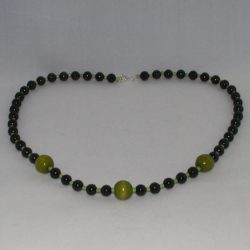 Black Green Beads Long Necklace