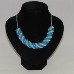 Blue Russian Spiral Silver Chain Necklace