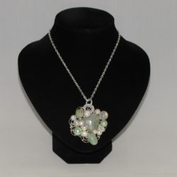 Green Embellished Silver Chain Pendant