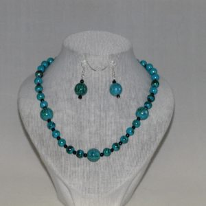 Blue Acrylic Bead Necklace Ear Rings