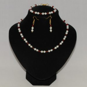 White Pearl Red Crystal Three Piece Set
