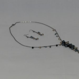 Black Chain Pearl Dangle Necklace Ear Rings