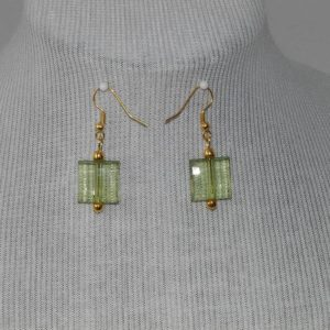 Acrylic Green Squares Ear Rings