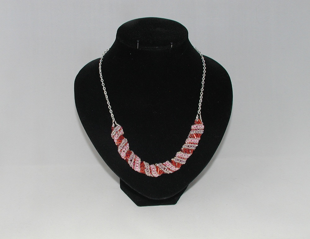 Red Silver Russian Spiral Necklace