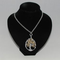 Citrine Tree of Life Silver Chain Necklace