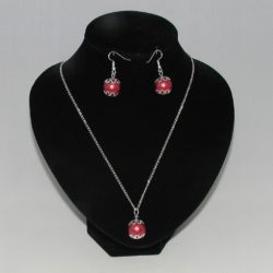 Burgundy Spheres Silver Chain Necklace Ear Rings
