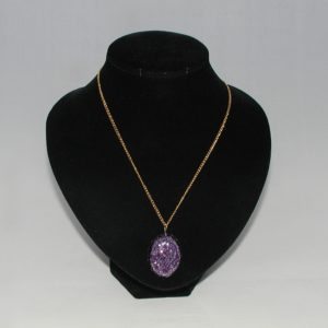 Amethyst Glitter Resin Pendant Necklace