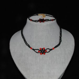 Black Red Choker Necklace Bracelet