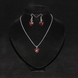 Burgundy Hearts Silver Chain Pendant Necklace Ear Rings