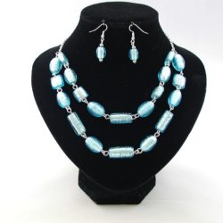 Blue Indian Glass Necklace Ear Rings