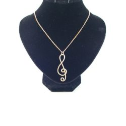 Gold Wire Treble Cleft Necklace