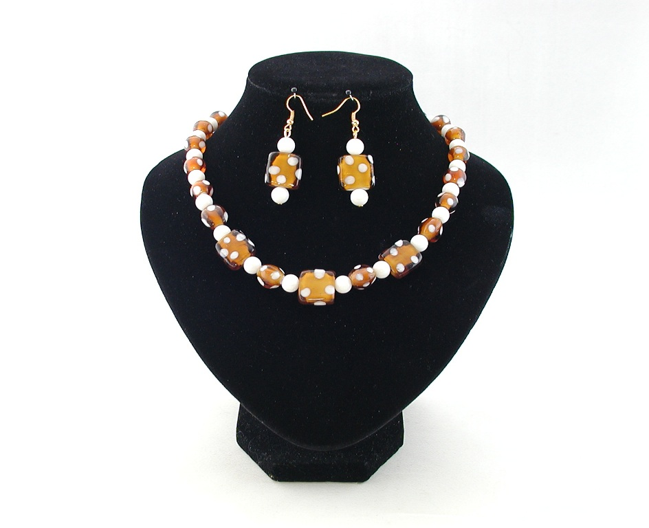 Brown White Indian Glass Necklace Ear Rings