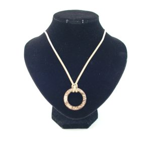 Beige Suede Cord Wooden Ring Pendant