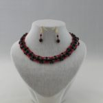 Black Pearl Red Seed Bead Choker Necklace Ear Rings