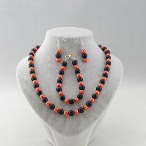 Black Tangerine Pearls Necklace Bracelet Ear Rings