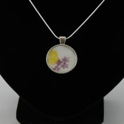 Yellow Butterfly Round Silver Pendant Necklace