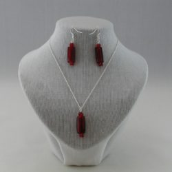 Burgundy Lozenge Silver Chain Pendant Necklace Ear Rings