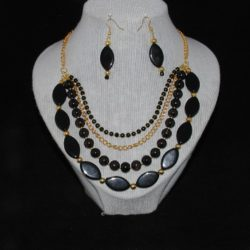 Black Multi Strand Necklace Ear Rings
