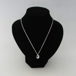 Small Round Crystal Silver Chain Necklace