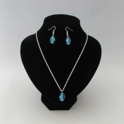Blue Oval Indian Glass Pendant Necklace Ear Rings