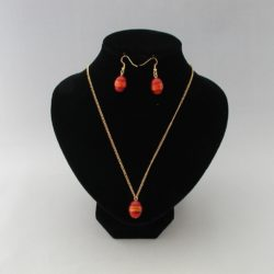 Red Oval Indian Glass Pendant Necklace Ear Rings