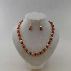 Amber Draw Bench Bead Necklace Ear Rings