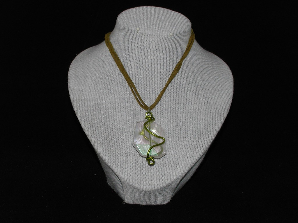 Green Acrylic Pendant Suede Cord Necklace