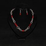 Red Indian Glass Chunky Chain Necklace Ear Rings