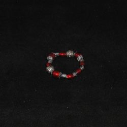 Red Indian Glass Silver Beads Bracelet