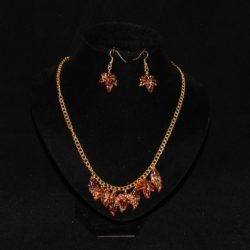 Amber Leaves Necklace Ear Rings