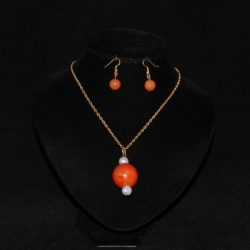 Amber Sphere Gold Chain Pendant Necklace Ear Rings
