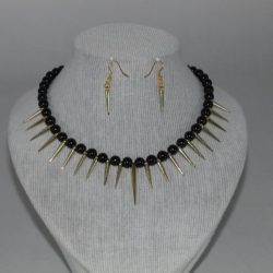 Black Pearls Gold Spikes Necklace Ear Rings