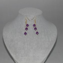 Mauve Flower Ear Rings