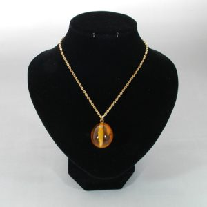 Acrylic Amber Egg Gold Chain Necklace