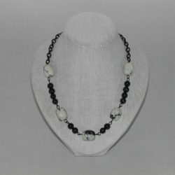 Black Chain Green Marble Necklace
